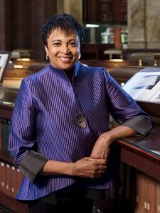Librarian of Congress Carla Hayden in the Library's Main Reading Room, September 1, 2020. Photo by Shawn Miller/Library of Congress. Note: Privacy and publicity rights for individuals depicted may apply.