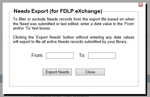 Needs List Export - ASERL Documents Disposition Database